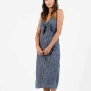 LUCCA Nautical Button Front Midi Dress Tahoe Blue